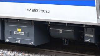 増備されたばかりの新ピカなE531系基本編成が含まれる常磐線下り列車の土浦駅到着