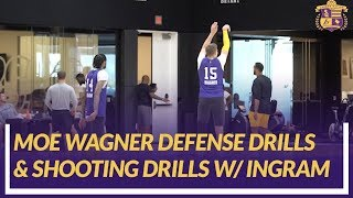 Lakers Practice: Rookie Moe Wagner Back on Court Doing Defensive Drills And Shooting With Ingram