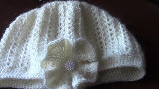 Вязание женской шапки с цветком. Часть 7 из 14