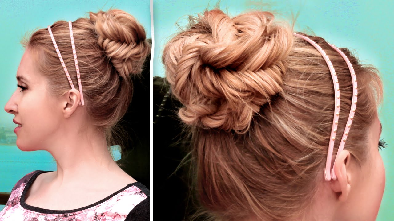 Fishtail braided updo hairstyle  Cute quick and easy