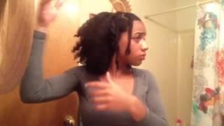 natural hair braid out on blown out hair