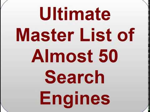 Ultimate Master List Of General Purpose Search Engines Besides Google