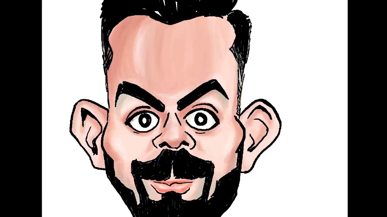 Virat Kohli The Run Machine Coloring Of Virat Caricature