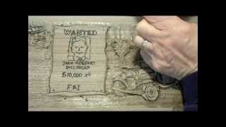 Tommy Gun Scene Carved In Relief, Part 1 of 2