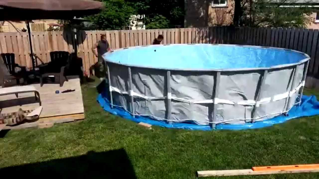 Ground prep and intex ultra frame pool installation doovi Above ground pool installation ideas