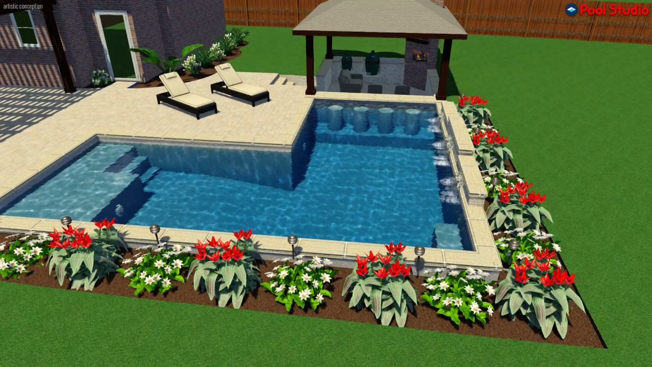 L shaped pool with swim up bar and sunk in outdoor for Pool design with swim up bar