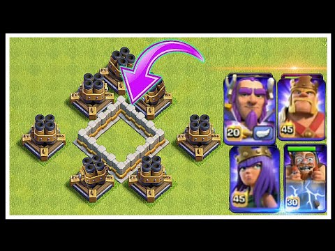 Max ×6 Multi Mortar Vs All Heros | Maze base - Clash of clans