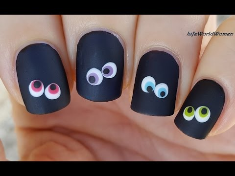 Easy HALLOWEEN NAIL ART / Black Matte Nails With Colorful Eyes - YouTube