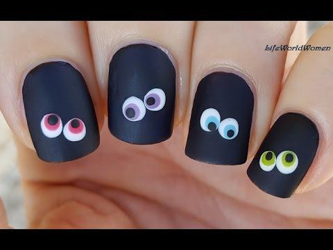 easy halloween nail art black