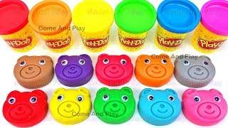 Learn Colors Play Doh Teddy Bears ELMO Octonaut Disney Elephant Molds Surprise Toys Fun For Kids