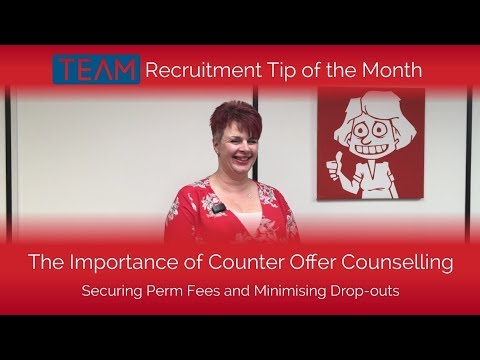 COUNTER OFFER COUNSELLING | Securing Perm Fees & Minimising Drop Outs | Recruiter Tip of the Month