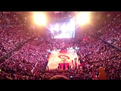 Game/player introduction on Cavaliers vs Rockets @ Quicken Loans Arena, Cleveland