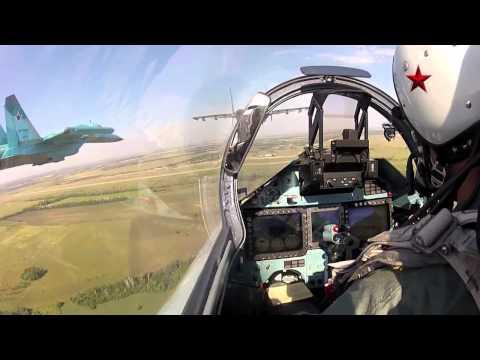 Aerobatics Su 27SM and Su 34.  GoPro cameras