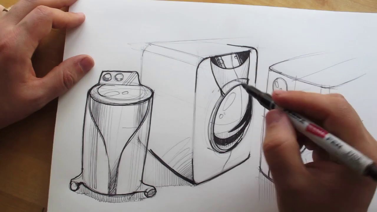 How to draw product design sketching washing machine for How to make a blueprint online