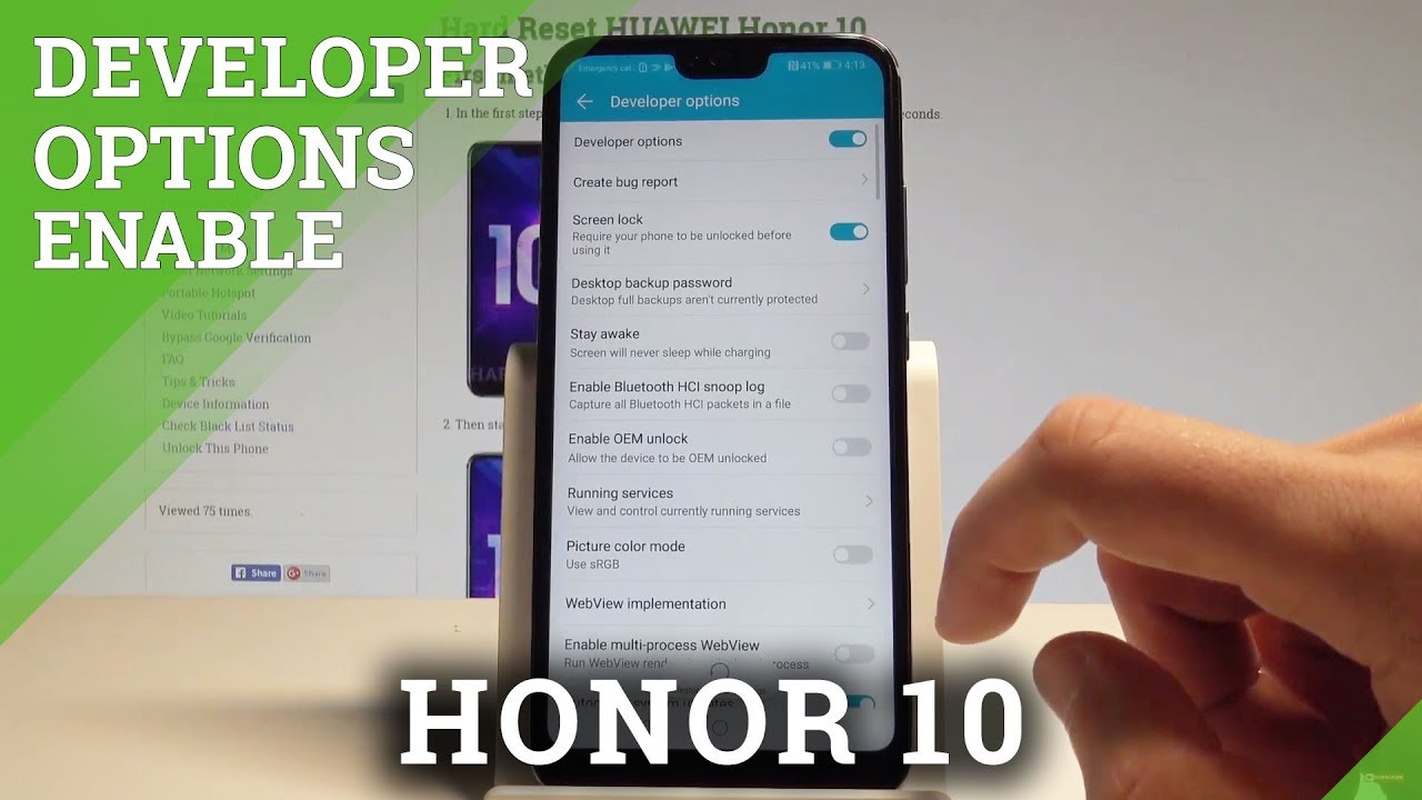 How to Enable Developer Options on Honor 10 - OEM Unlock / USB Debugging  |HardReset Info