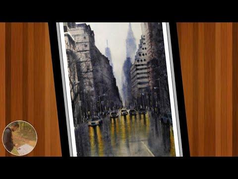 watercolour cityscape painting/ Watercolour landscape painting/ after rainy cityscape/Evening