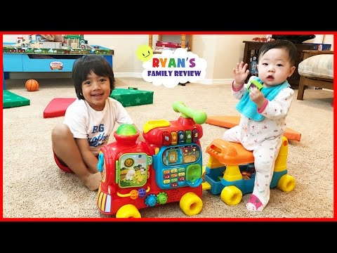 Thumbnail: Vtech Sit-to-Stand Alphabet Train playtime and unboxing toy review with Ryan's Family