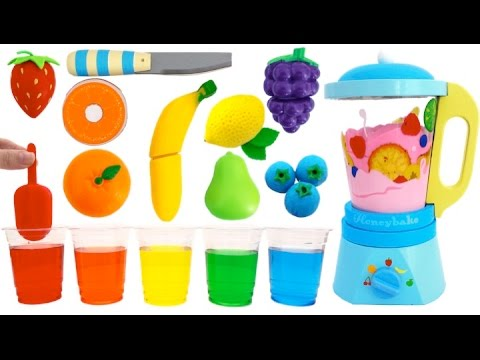 Thumbnail: Toy Blender Playset Learn Colors & Fruits & Vegetables with Wooden Velcro Toys for Kids Preschoolers
