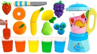 Toy Blender Playset Learn Colors & Fruits & Vegetables with Wooden Velcro Toys for Kids Preschoolers