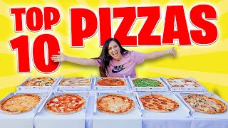 TOP 10 PIZZAS  COMPRO TODO EL MENÚ!  Cuál es la Pizza Más Rica?  Probando Pizzas Sandra Cires Art