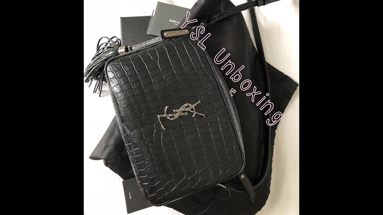 4bda1a4763 YSL Unboxing  Croc Embossed Lou Camera Bag - YouTube