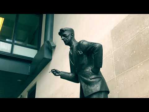 GEORGE ORWELL TOWERS AT BBC BROADCASTING HOUSE TALKING STATUE