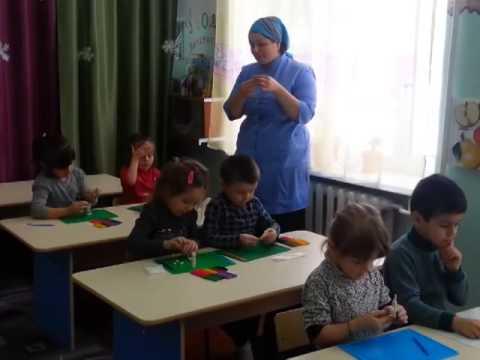 Детский сад № 116,  занятие по лепке, тема Зайчонок