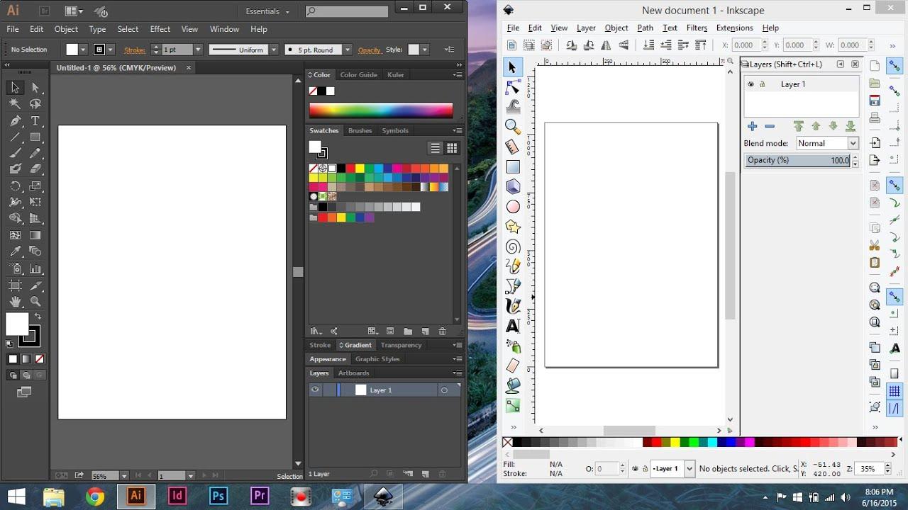 Inkscape Vs Adobe Illustrator Cc Comparing Inkscape To