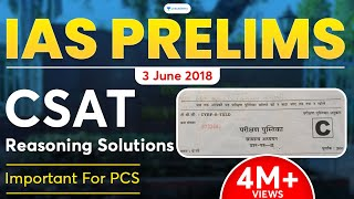 IAS Prelims 3 June 2018 : CSAT reasoning solutions | Also important for PCS