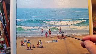 On the Beach - How to - Oil Painting - Palette Knife | Brush Waves Ocean Water Sea Coast Dusan