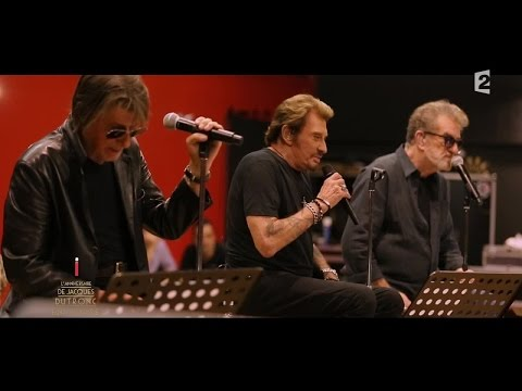 Johnny Hallyday, Eddy Mitchel et Jacques Dutronc chantent