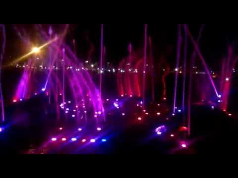 beautiful musical fountain in lucknow, uttar pradesh, India, at ambedkar park.mp4
