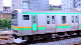 JR東日本  南浦和駅付近で交差する宇都宮線E231系