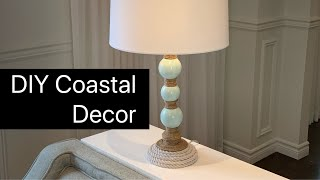 DYI Coastal Design- lamp hack- transform a lamp with Dollar Tree materials!