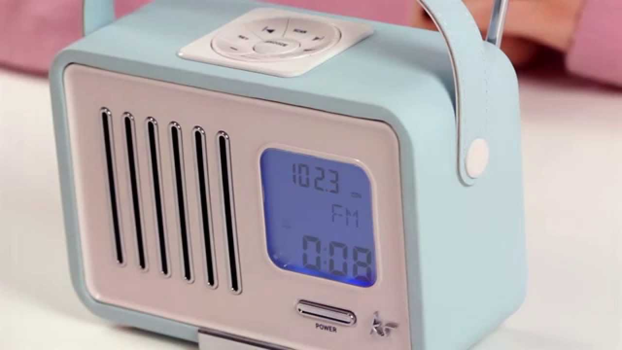 first look kitsound swing alarm clock fm radio youtube. Black Bedroom Furniture Sets. Home Design Ideas
