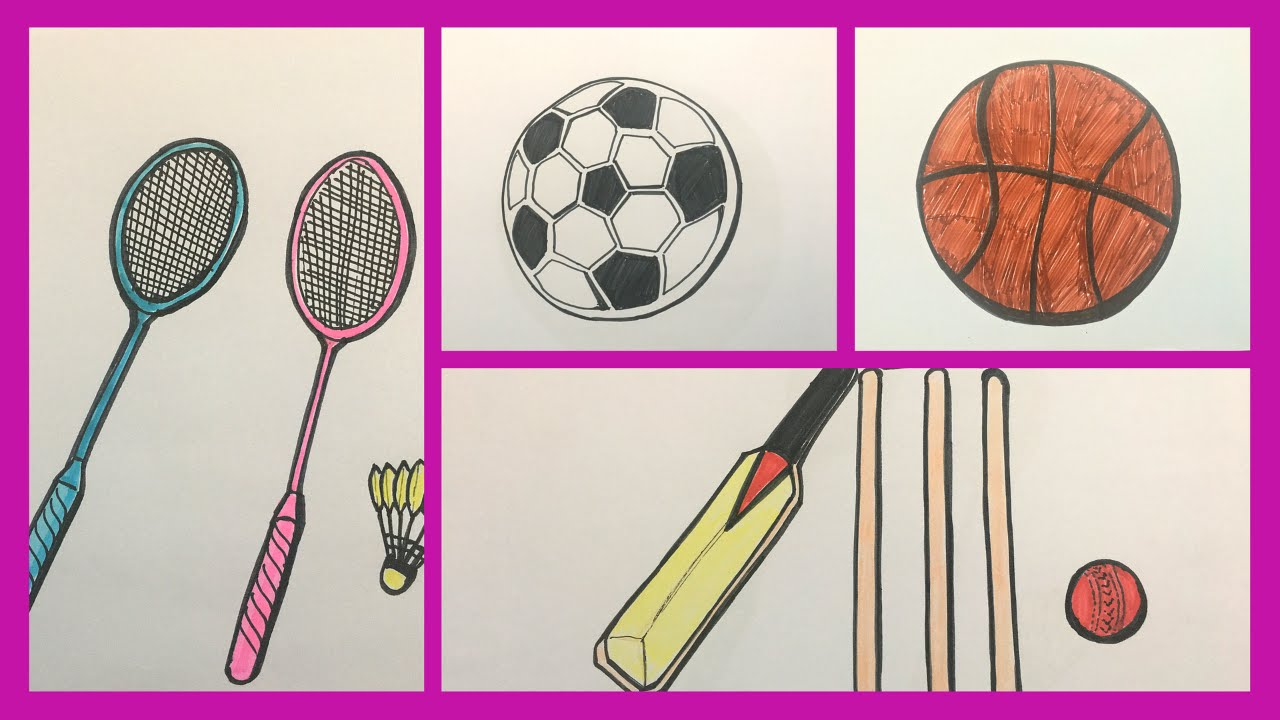 How To Draw And Color Outdoor Games For Kids Drawing And Coloring