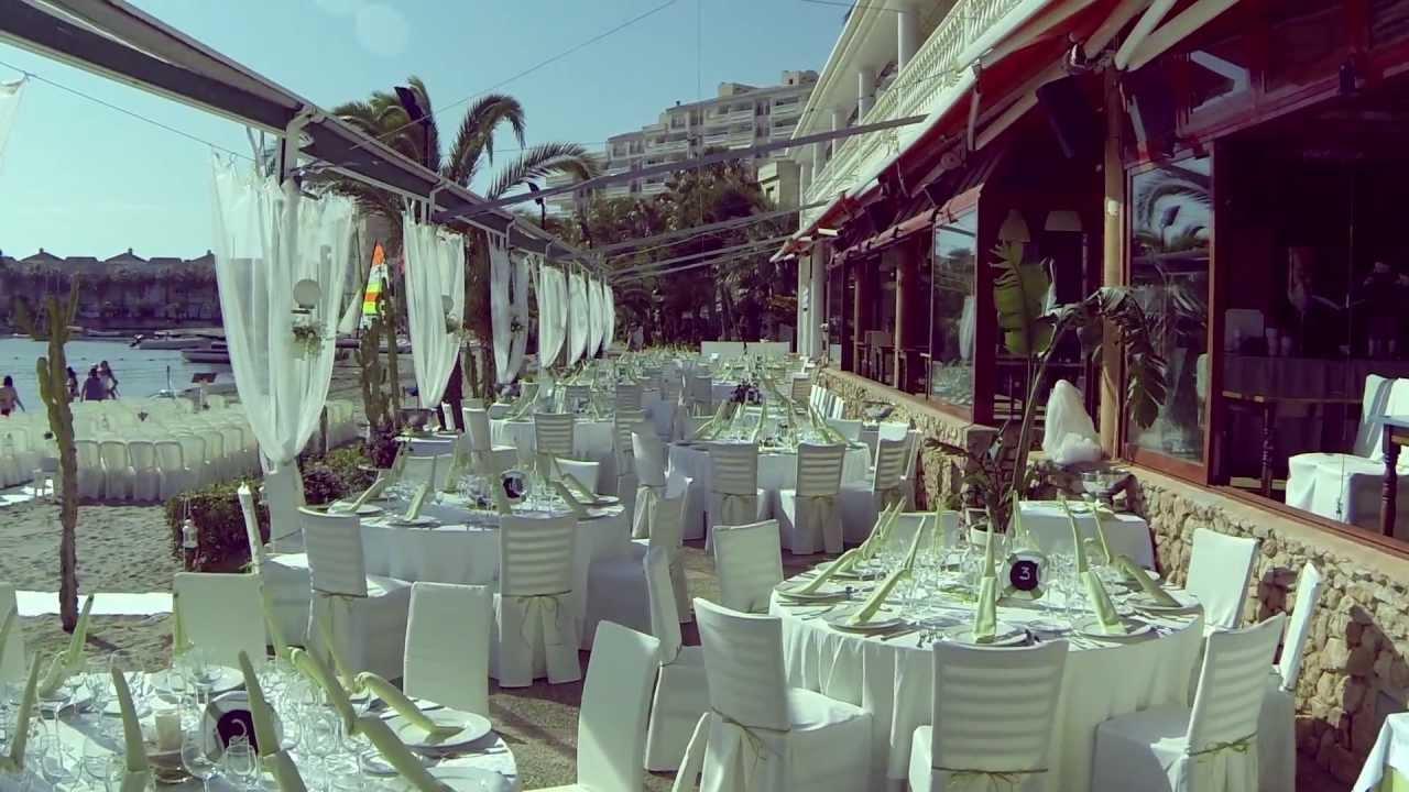 Boda En La Playa Montaje De Mesas Restaurante Area Sunset