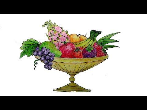 cara menggambar buah buahan yang mudah versi lambat - YouTube