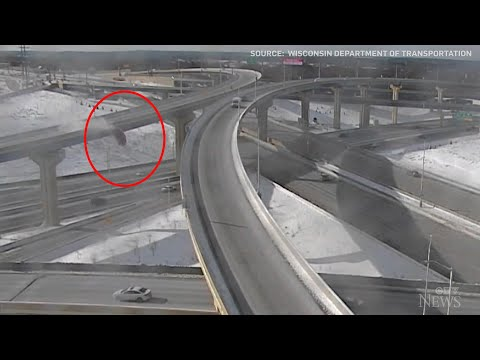 Caught on camera: Truck plunges off Wisconsin overpass