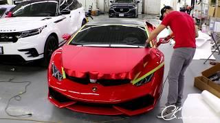 Lamborghini Huracan Hood / Bonnet Vinyl Wrap In Satin Red Chrome. By @ckwraps