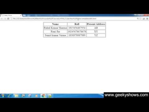 44. How To Set Table Width In HTML (Hindi)