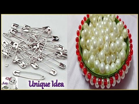 #340 How To Make Safety pin Pearl Earrings At Home   Jhumkas making Idea   JEWELRY IDEAS FOR KIDS