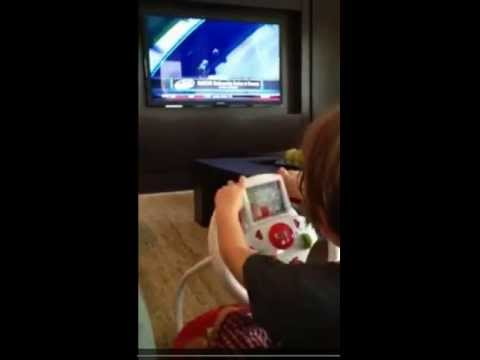 """Jeff Gordon's Son, Leo, """"Driving"""" While Watching the NASCAR Race on Television"""