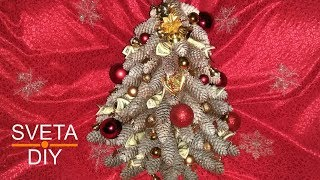 Как сделать новогоднюю елку из шишек своими руками. DIY New Years Decor Christmas Tree How to!