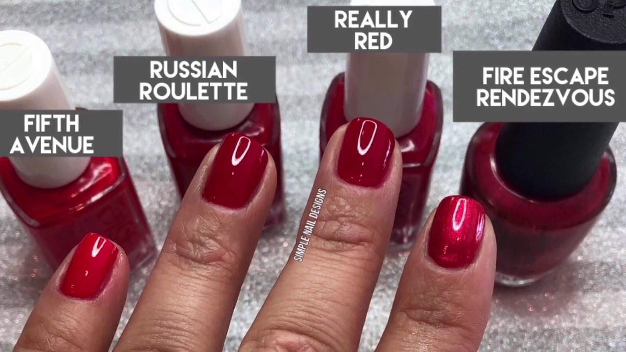 4 of red nail polish shades