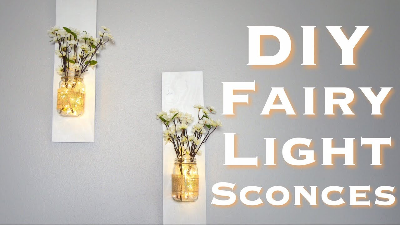 Diy rustic mason jar sconces with fairy lights under 10 youtube diy rustic mason jar sconces with fairy lights under 10 aloadofball Choice Image