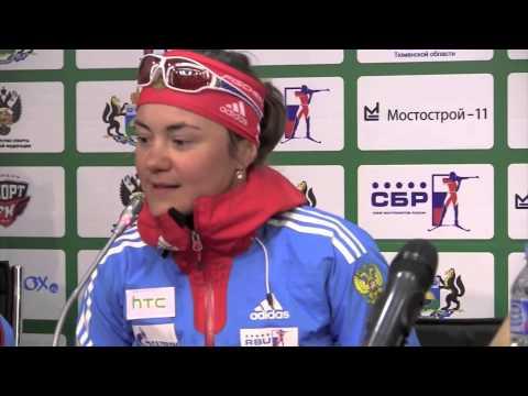 Фрагмент пресс конференции спортсменов после гонки чемпионов по биатлону в Тюмени