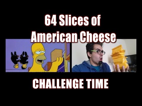 64 Slices of American Cheese Challenge *Simpsons Parody* | FreakEating vs World 119