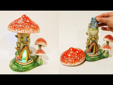 3 Red Mushrooms Fairy House Jar DIY Lantern - Money Bank, Air Dry Clay Tutorial