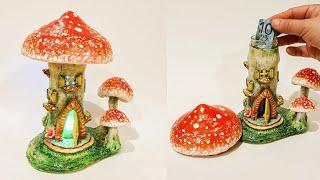 3 Red Mushrooms  Fairy House Jar DIY Lantern or Piggy Bank Craft Idea Using Air Dry Clay